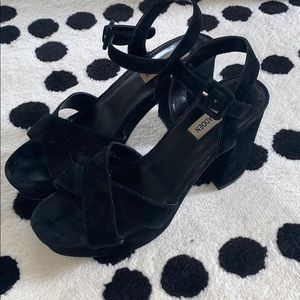 Steve Madden! Black Suede Strappy Block Heels, 9